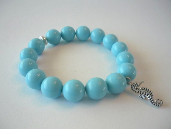 Seahorse charm and Tiffany blue stretch bracelet.