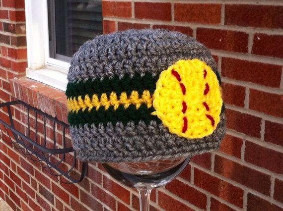 Crochet Beanie with softball (any team colors) on Etsy, $18.00