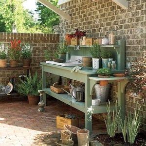 Potting bench by Ladybumblebee