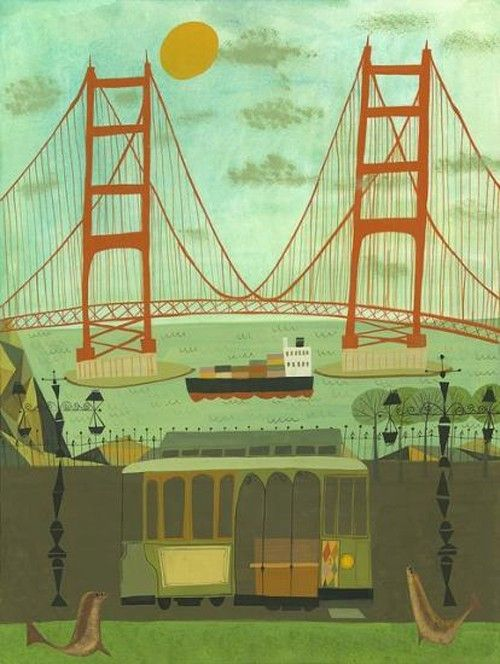 california-dreamin: Bays Area, California Dreamin, Golden Gates Bridges, California Home, Sanfrancisco, My Heart, Matte Stephen, Folk Art Paintings, San Francisco