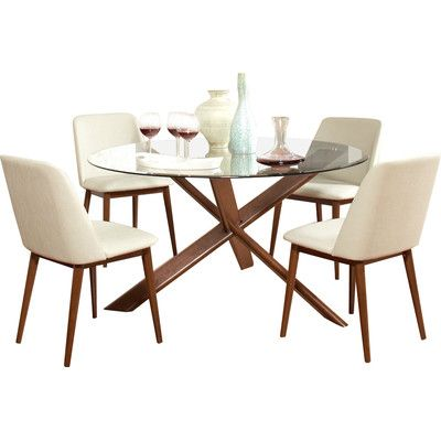 Dudley 5 Piece Mid Century Dining Set