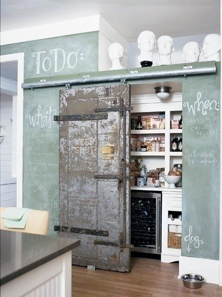I love the sliding barn door and green chalkboard paintThe Doors, Chalkboards Painting, Chalk Boards, Barns Doors, Kitchens Pantries, Old Doors, Chalkboards Wall, Pantries Doors, Sliding Doors