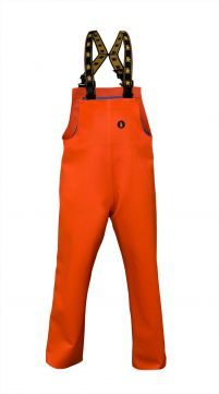 WATERPROOF STORM BIBPANTS Model: 004 The model with adjustable elasticated braces. The model is made of 2 kinds of fabric, PVC/polyester quality - Plavitex Heavy Duty and Plavitex Classic fabric. Plavitex Heavy Duty it is a strong waterproof fabric, resistant against mechanical risks and it's recommended for fishing industry and for hard work conditions at sea. Plavitex Classic makes bibpants lighter and comfortable for using.