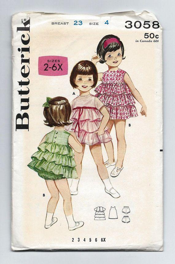 Vintage 1960s Butterick 3058 Girls ruffle petticoat dress with slip, bloomers, panties. #sewingpatterns