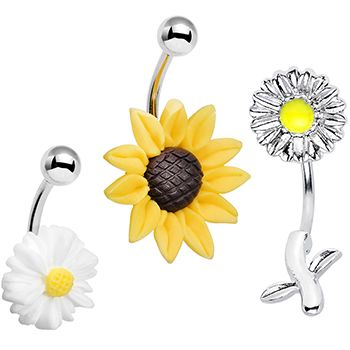 Flower Power Fiesta Belly Button Ring 3 Pack | Body Candy Body Jewelry