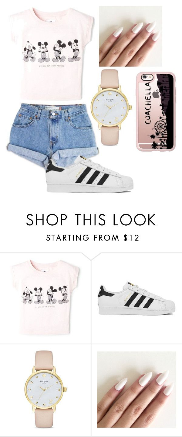 """Kill em with kindness❤️"" by calliethib ❤ liked on Polyvore featuring MANGO, Levi's, adidas, Kate Spade and Casetify"