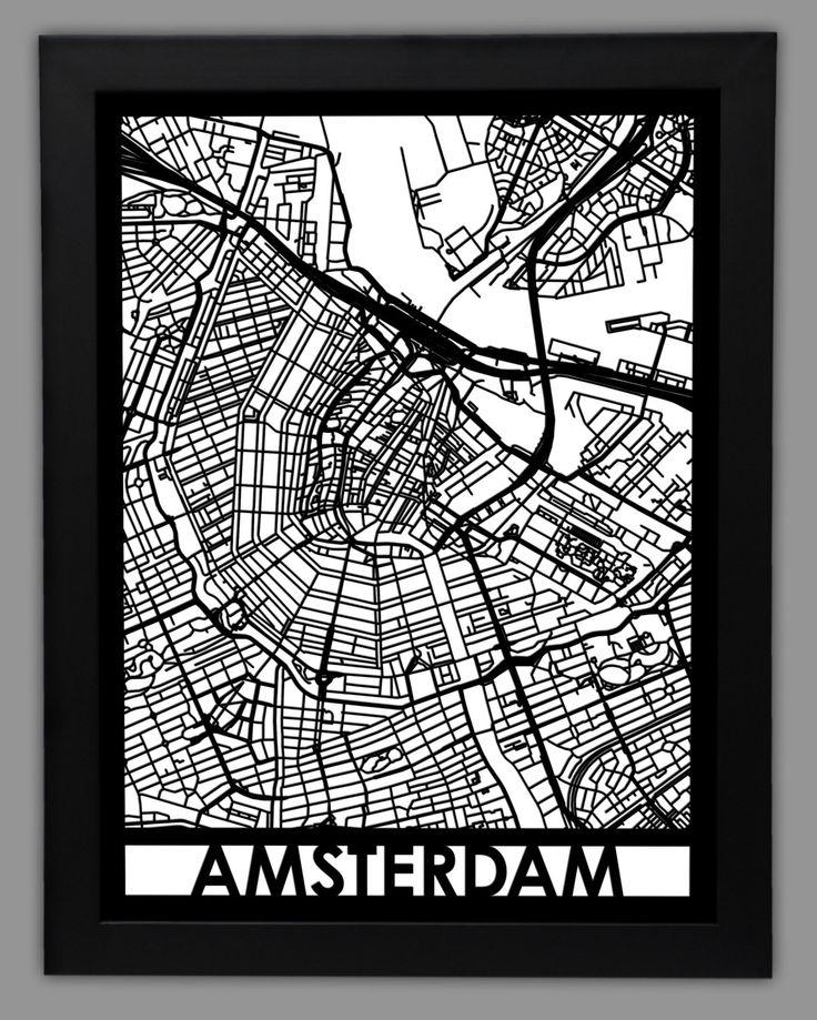 amsterdam laser cut map 18x24 framed city map city wall art