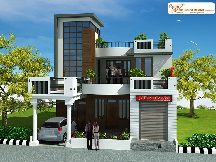 3 bedrooms duplex 2 floors house design in 220m2 10m x Naksha for house construction