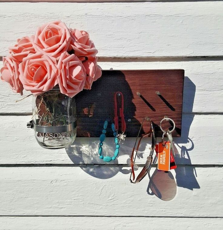 Mason Jar Wall -Mounted Flowers Holder Wall Hanging Necklace Holder Keys Holder  #RusticStyles #Country