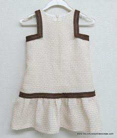 vestido para niña 3 años con cintura baja falda fruncida y sisas cuadradas