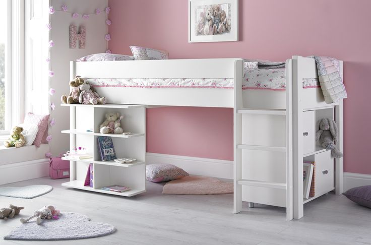 The Montana mid sleeper with desk and quad unit is a versatile solution that combines a bed with a versatile work station. Manufactured from solid rubber wood the Montana is a premium quality mid sleeper with a soft white painted finish. If your looking for a well designed mid sleeper bed with no veneering and chipboard insight then, this maybe the perfect option for you.