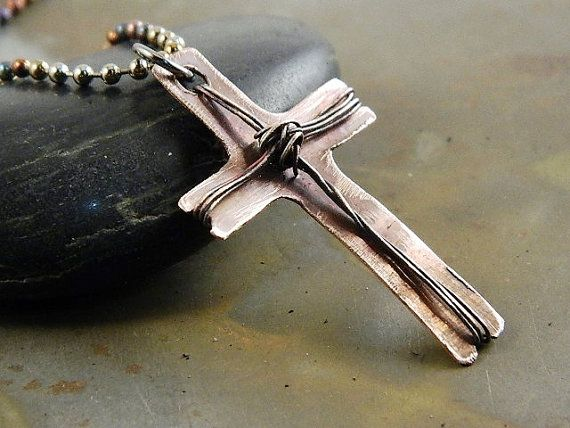 Boxing Week Sale 20% OFF! Wire Wrapped Cross on Copper Handmade Jewelry for Men or Women