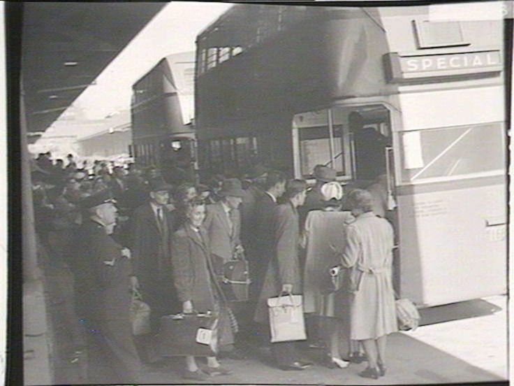 """Arrival of immigrants on """"Empire Brent"""", 5/1948.  Find more detailed information about this photograph: http://www.acmssearch.sl.nsw.gov.au/search/itemDetailPaged.cgi?itemID=216855 From the collection of the State Library of New South Wales http://www.sl.nsw.gov.au"""