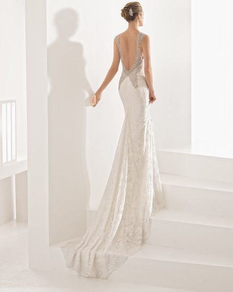 Embroidered tulle dress with beadwork detail, in ivory.