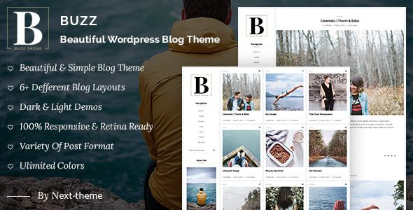 Buzz is a simple, clean & minimal blogging theme that allows you to display your content in 4+ different layouts. These styles include grid1, grid2, listing, standard, dark and makes it effortless to get a unique looking online space. This theme supports popular features such as instagram gallery, Flickr gallery, latest tweets, latest posts…Since Buzz also uses the built in Wordpress Customizer to edit settings, you'll be able to make the theme look yours in no time at all.