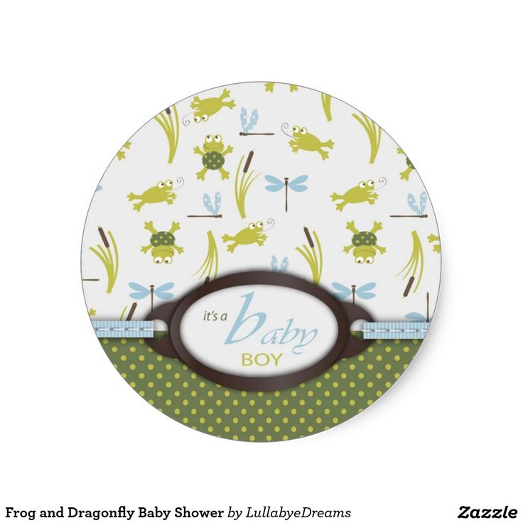 Frog and Dragonfly Baby Shower Round Sticker