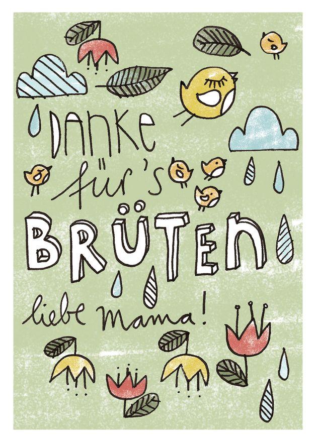 """Muttertag & Vatertag - Postkarte """"Danke für´s Brüten"""" - ein Designerstück von HerrPfeffer bei DaWanda"""
