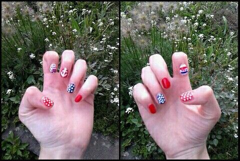 #Nail art # blue # red # white # anchor # sws
