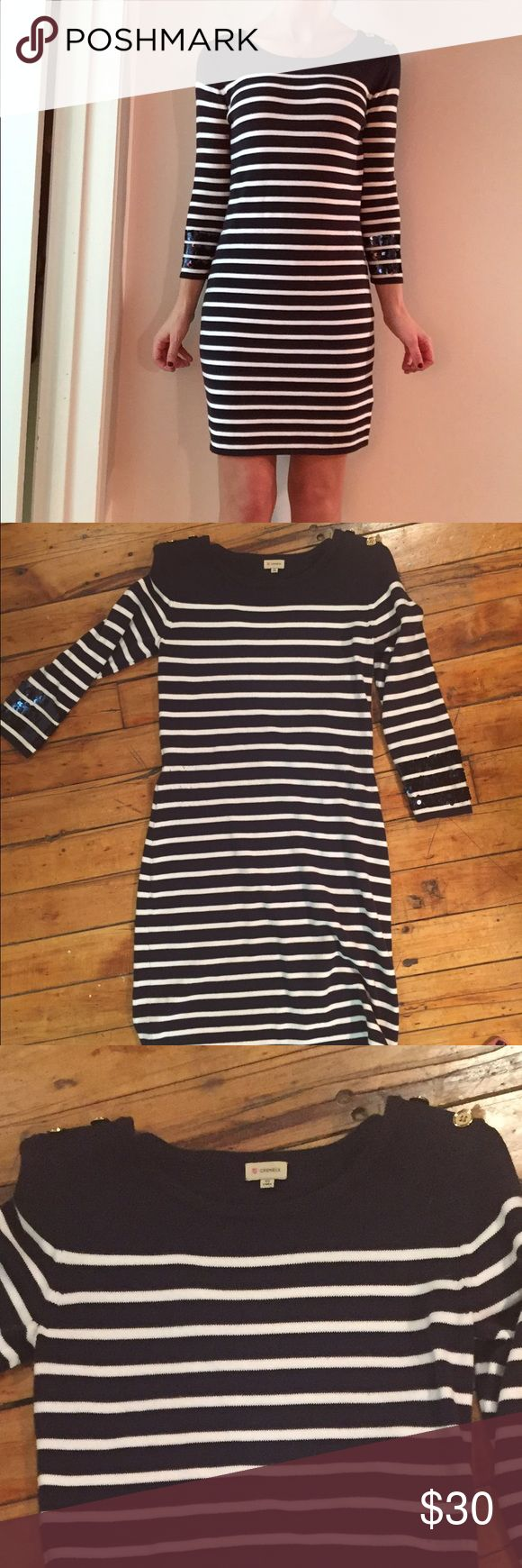 Nautical Dress w sequin sleeve Comfortable sweater dress with sequin stripe around sleeve Cyrillus Dresses Midi