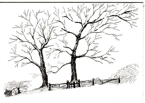Simple Pen and Ink Drawings   This is a simple pen and ink drawing adapting a photo of a snowscape ...