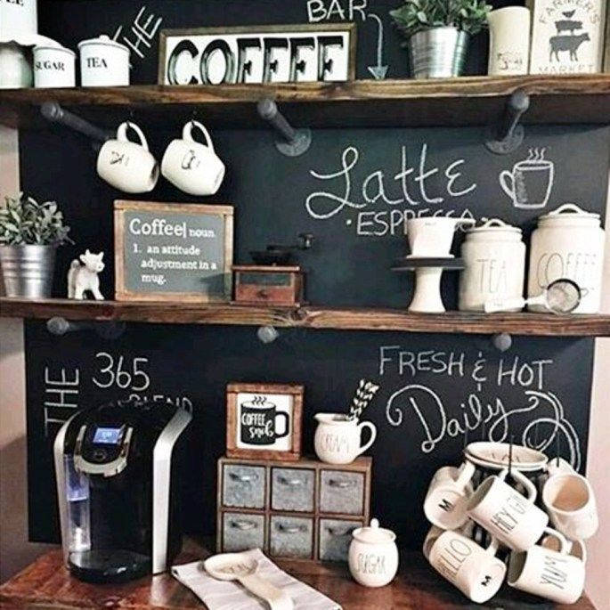 Creative Diy Coffee Bar Idea Love The Chalkboard Wall Behind This Small Kitchen Coffee Station The Indus Coffee Bar Home Diy Coffee Bar Home Coffee Stations