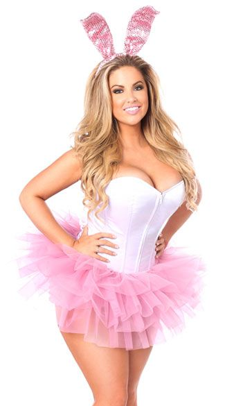 Hop into your next Halloween party in this cute Innocent Bunny costume featuring a white corset with a sweetheart neckline, a front zipper closure, built-in boning, a lace-up back closure, a pink layered tutu, and pink sequin bunny ears. (Panty not included.) Innocent Bunny Corset Costume, Sexy Bunny Costume, White and Pink Costume