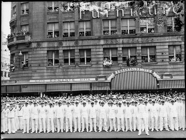 HMAS Sydney crew marching through Sydney city streets, 11 February 1941. Sam Hood Collection, State Library of New South Wales: http://www.acmssearch.sl.nsw.gov.au/search/itemDetailPaged.cgi?itemID=85940