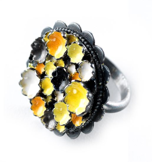 3D printed yellow cluster ring