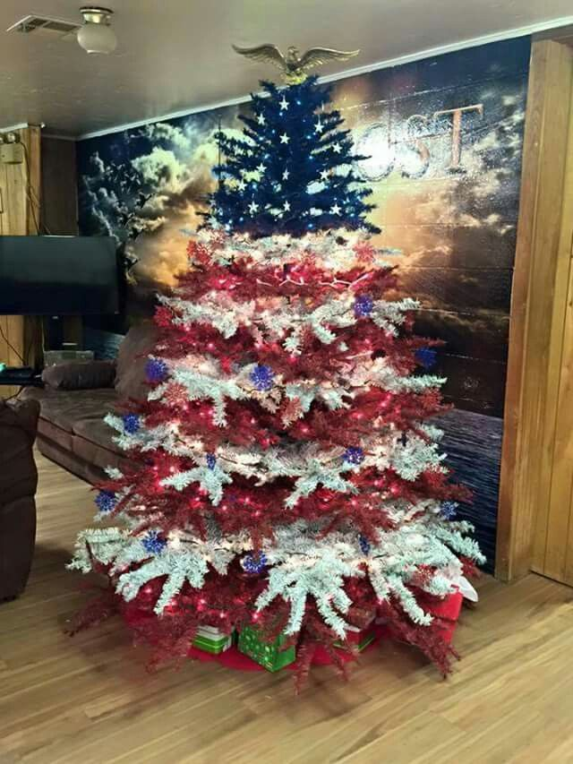 red white u0026 blue Christmas tree VFW