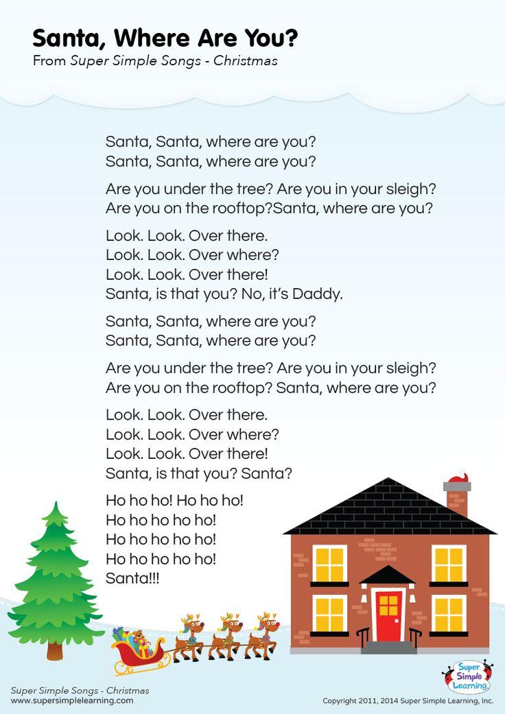 "Lyrics poster for ""Santa, Where Are You?"" Christmas song"