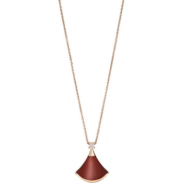 Bvlgari Rose Gold Carnelian and Diamond Divas' Dream Necklace (6.510 BRL) ❤ liked on Polyvore featuring jewelry, necklaces, bulgari necklace, 18k diamond necklace, pink gold necklace, 18k rose gold necklace and carnelian jewelry