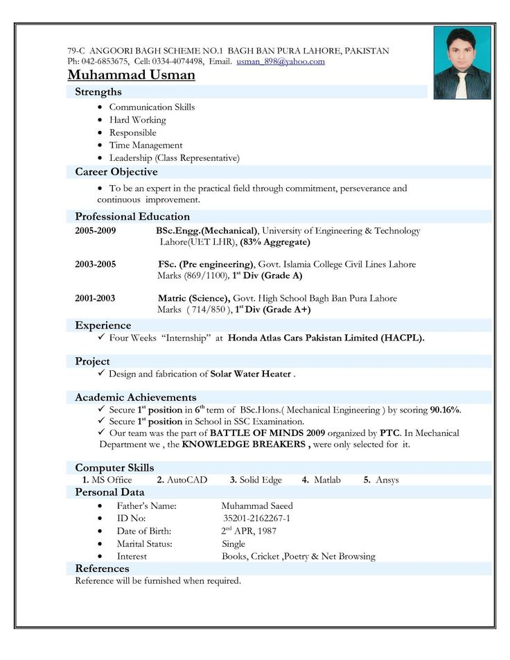 Job resume format Top 5 Resume Formats For Freshers