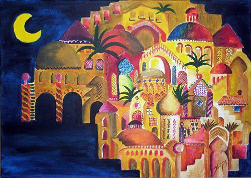 1001 Nacht Stadt gemalen (Bottle Painting Art)