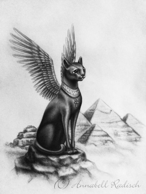 Image result for egyptian cats with wings