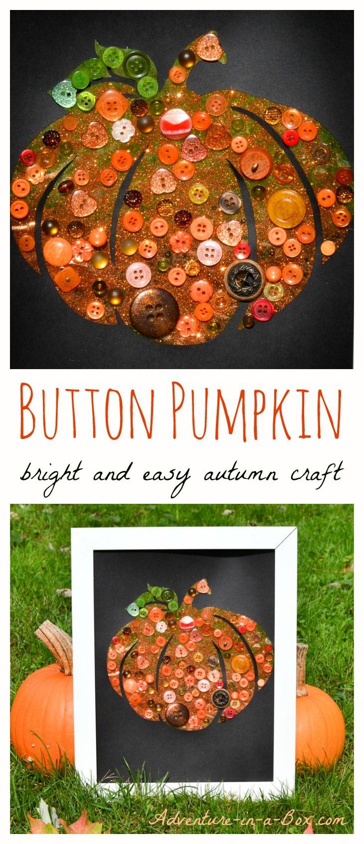 Button Pumpkin Craft: Bright and Easy Autumn Craft for Children