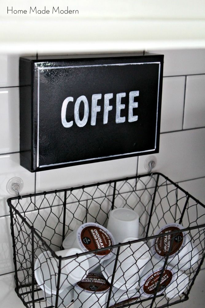 Spruced Up Coffee Station And Hanging K Cup Holder, Kitchen Design,  Organizing, Storage Ideas, Hanging K Cup Holder