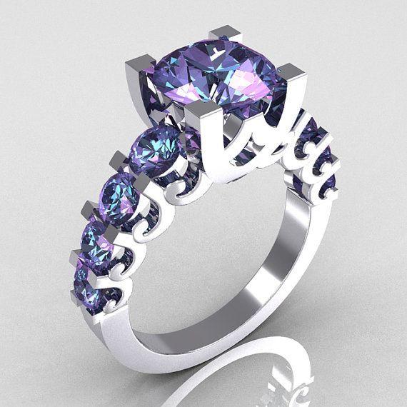 ☆ Vintage 18K White Gold 2.0 Carat Alexandrite Designer Wedding Ring ☆