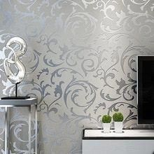 Grey Classic Luxury 3D Floral Embossed Textured Wall Paper Modern Wallpaper For …