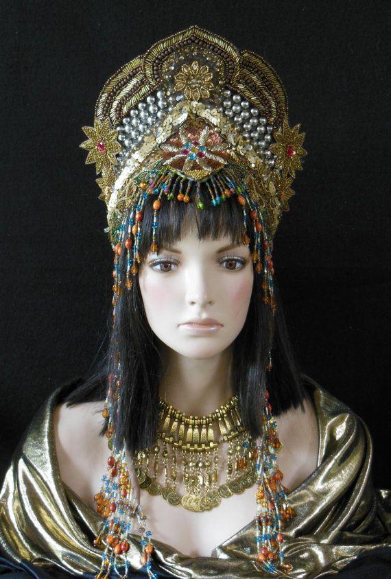 Fantasy Golden Goddess Queen Princess Moroccan Persian Buring Man Tribal Belly dance Bohemian Crown headdress headpiece beaded Festival hat MIMSYCROWNS