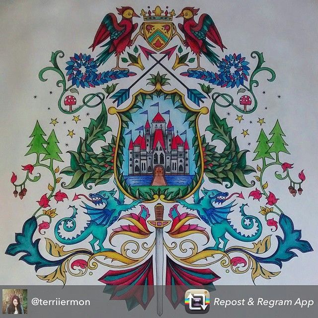 Coat Of Arms Castle Enchanted Forest Brasao Castelo Floresta Encantada Johanna Basford Adult ColoringColoring BooksJohanna