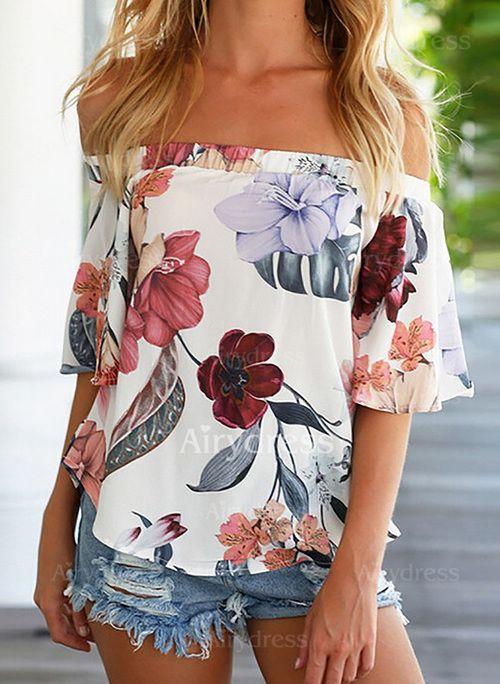 Floral Casuales Chifón Escote barco Manga corta Camisas (1046093) @