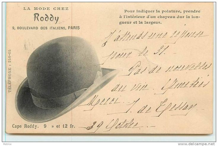 PARIS  - la mode chez Roddy, 2 boulevard des Italiens.(carte publicitaire)