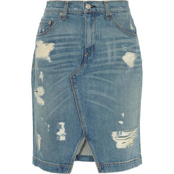 rag bone distressed denim skirt 159 liked on polyvore