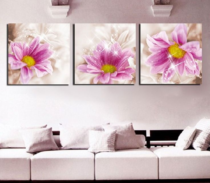 Amazon.com: Hot Sell 3 Panels 40 x 40 cm Modern Wall Painting Beautiful Magnificent Flowers Picture Home Decorative Art Paint On Canvas Prints: Posters & Prints