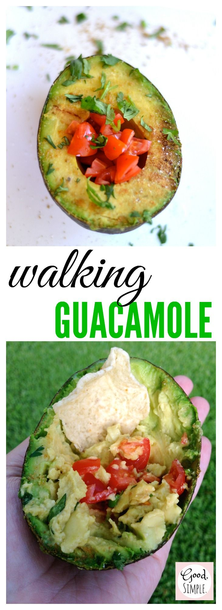 Grill avocados and top with guacamole ingredients for a fun BBQ or cookout side dish or appetizer. #grilling #BBQ