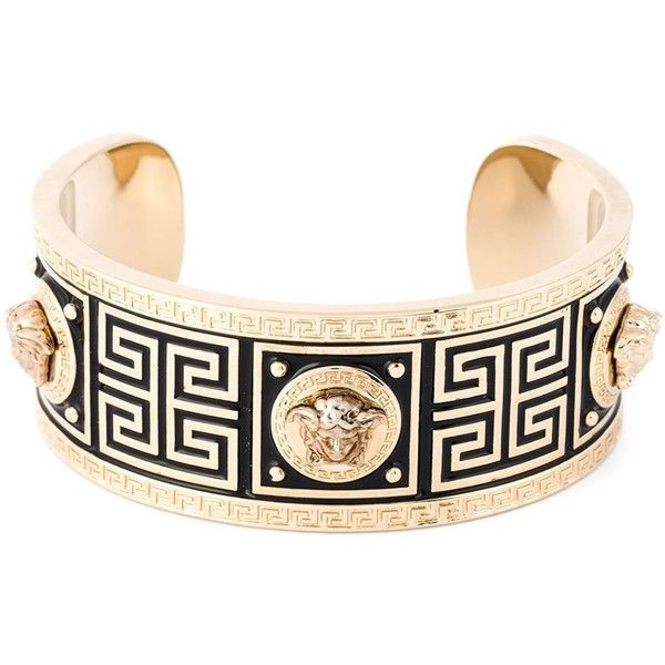 Versace Medusa Bracelet ($331) ❤ liked on Polyvore featuring jewelry, bracelets, metallic, versace, versace jewellery, versace jewelry, gold tone jewelry and metallic jewelry