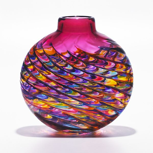"""Optic Rib Flat Jewel with Strawberry""  Art Glass Vase  Created by Michael Trimpol"