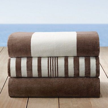 Brown and White Cabana Stripe Designer Beach Towels