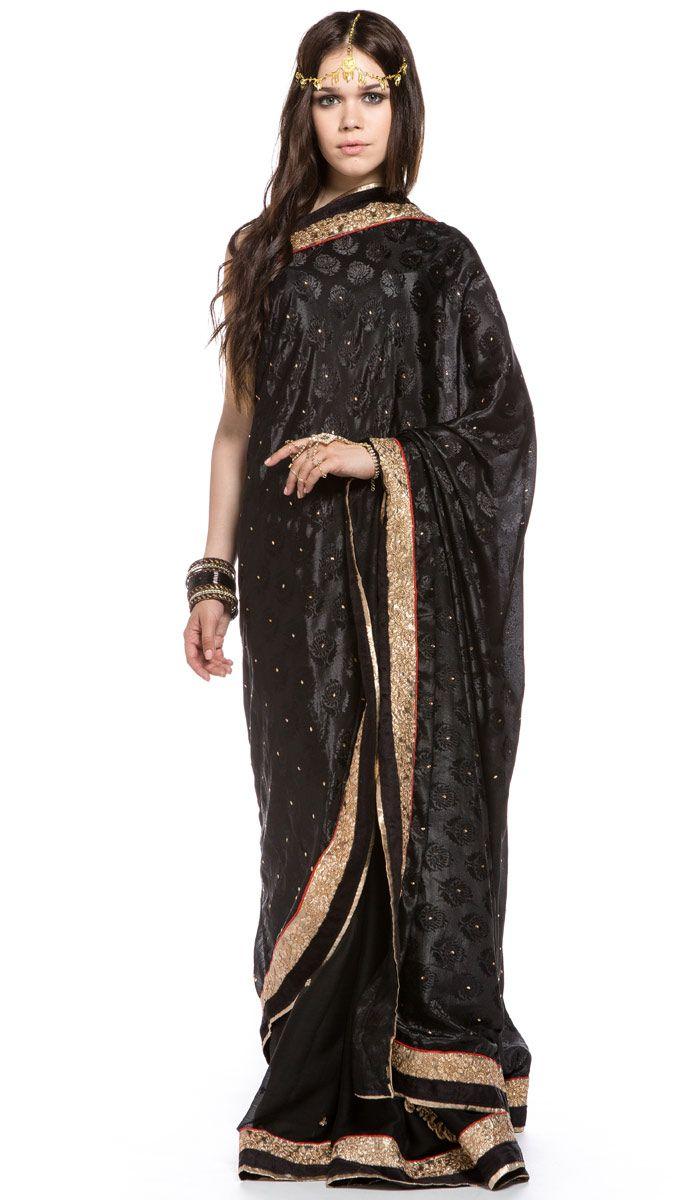 Индийское сари, черное сари из Индии, Indian sari, black sari from India. 11 200 рублей