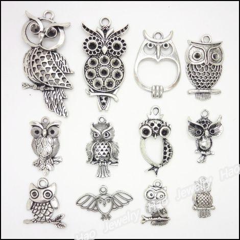 Смешанный 48 шт. винтаж подвески сова старинное серебро подходит браслеты ожерелье DIY металл изготовление ювелирных изделий купить на AliExpress